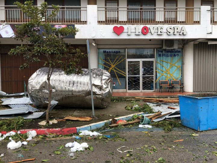 Debris is scattered after Super Typhoon Yutu hit the U.S. Commonwealth of the Northern Mariana Islands, Thursday, Oct. 25, 20