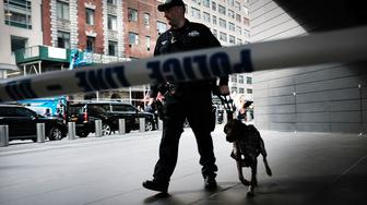 NEW YORK, NY - OCTOBER 24:  Police stand guard outside of the Time Warner Center after an explosive device was found there this morning on October 24, 2018 in New York City. CNN's office at the center was evacuated Wednesday morning after a package arrived that was similar to suspicious packages found near the homes of Bill and Hillary Clinton, Barack and Michelle Obama, billionaire philanthropist George Soros and other prominent political figures.  (Photo by Spencer Platt/Getty Images)