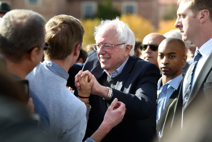 Sen. Bernie Sanders (I-Vt.) greets supporters in Boulder, Colorado, on Wednesday. As he campaigns on behalf of the Democratic