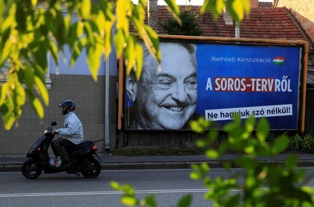 Anti-Soros billboards in Hungary frame him as a foreign enemy set on undermining the government.