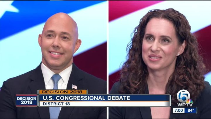 Rep. Brian Mast (R-Fla.) questioned the patriotism of his Democratic opponent Lauren Baer, a former State Department staffer,