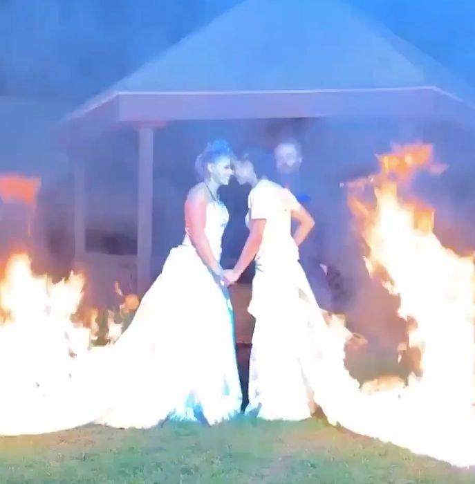 Brides Set Their Wedding Dresses On Fire