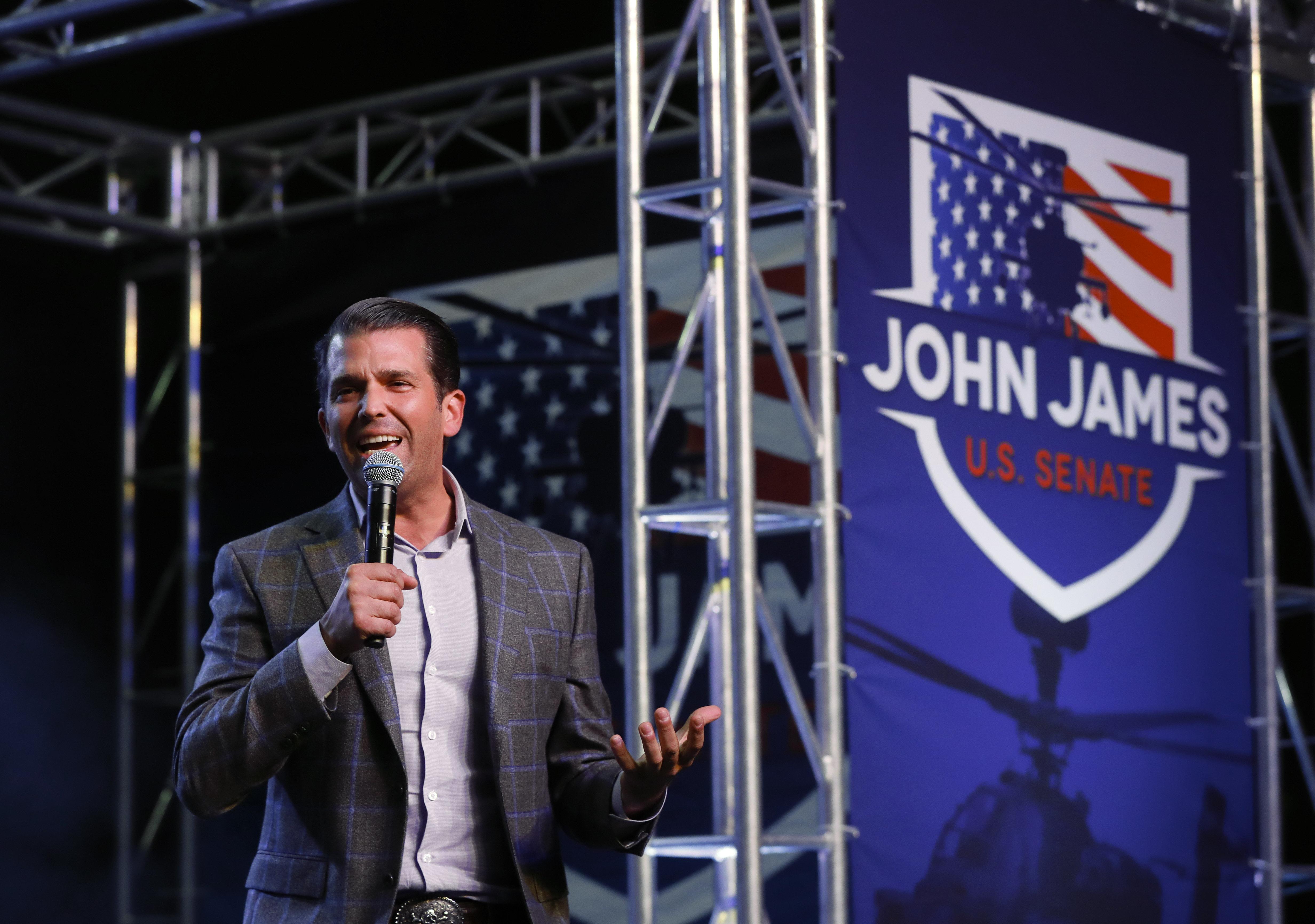 Donald Trump Jr. speaks during a rally for Republican U.S. Senate candidate John James in Pontiac, Mich., Wednesday, Oct. 17, 2018. (AP Photo/Paul Sancya)