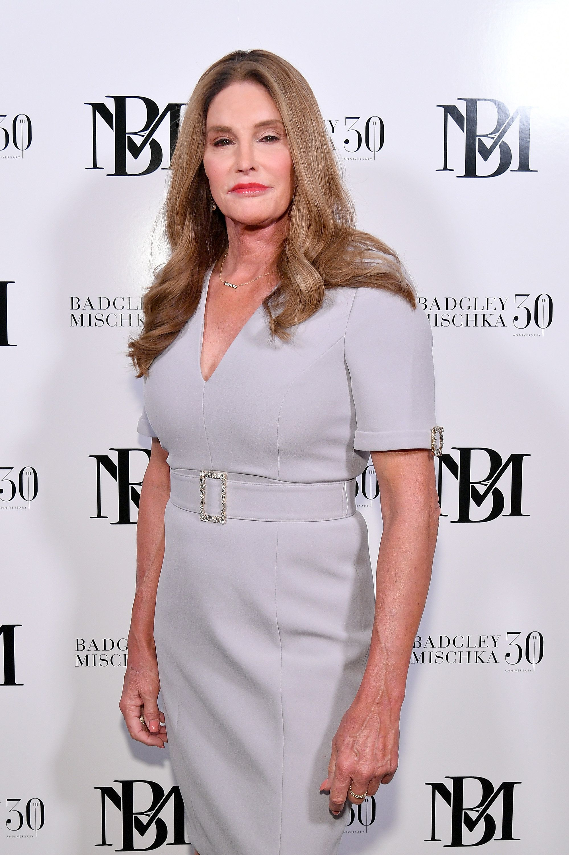 NEW YORK, NY - SEPTEMBER 08:  Caitlyn Jenner poses backstage at the Badgley Mischka show during New York Fashion Week: The Shows at Gallery I at Spring Studios on September 8, 2018 in New York City.  (Photo by Dia Dipasupil/Getty Images)