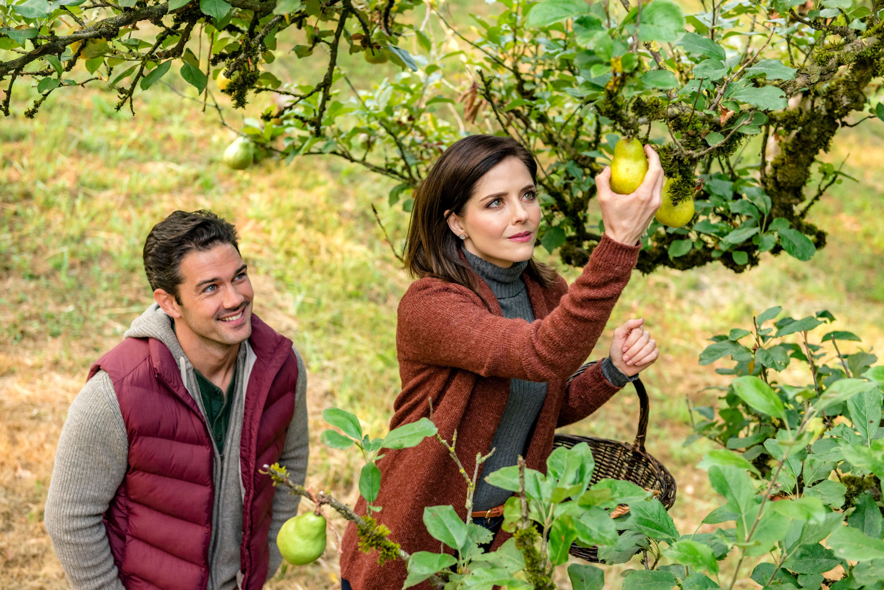 "Ryan Paevey and Jen Lilley get their harvest on in ""Harvest Love."""