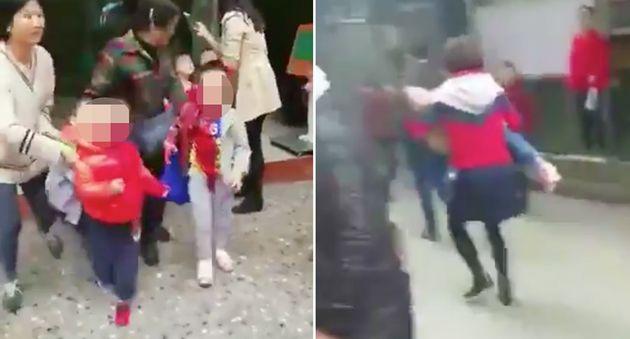 2018.10.26 오전 9:30에 한 여성이 친시지 유치원 어린이들을 칼로