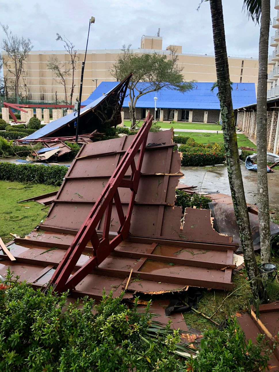 Maximum sustained winds of 180 mph were recorded around the eye of the storm, the National Weather Service said.