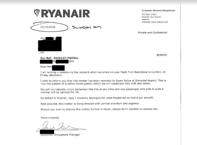 Ryanair has released a copy of its apology to Delsie