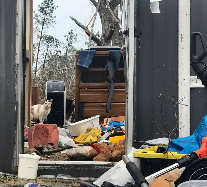 In this Oct. 23 photo, debris scatters a mobile home in Bay County, Fla., that was totally destroyed during Hurricane Michael