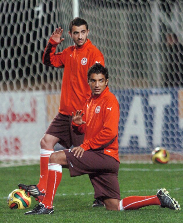 Ici debout avec Sami Allagui, lors d'un stage de préparation de l'équipe nationale
