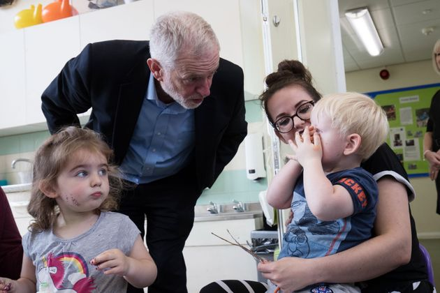 Jeremy Corbyn visits a children's centre in