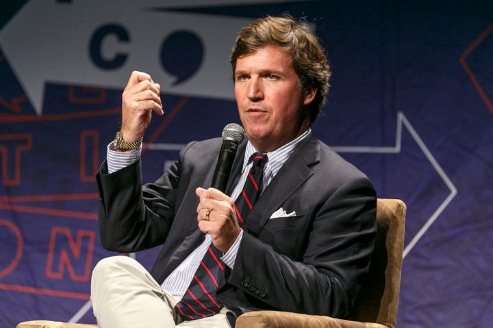 Fox News host Tucker Carlson (above) talked about racism, the Republican Party and President Donald Trump in an interview wit