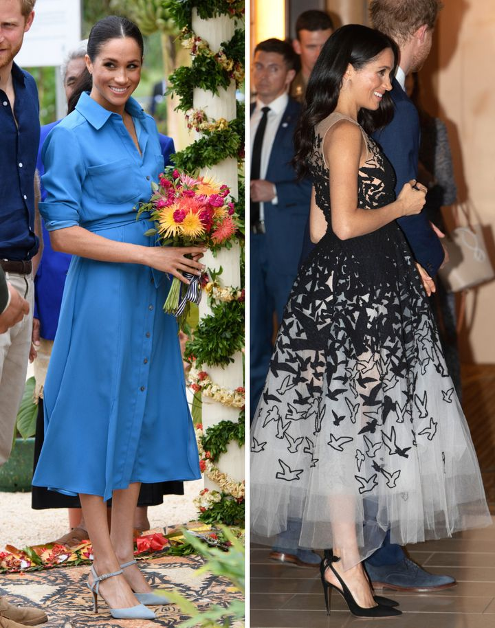 Left: The duchess wears blue suede Amandine heels — currently unavailable online — by the Italian label. Right: The duchess wears Deneuve pumps at an event during her trip to Australia and Fiji.
