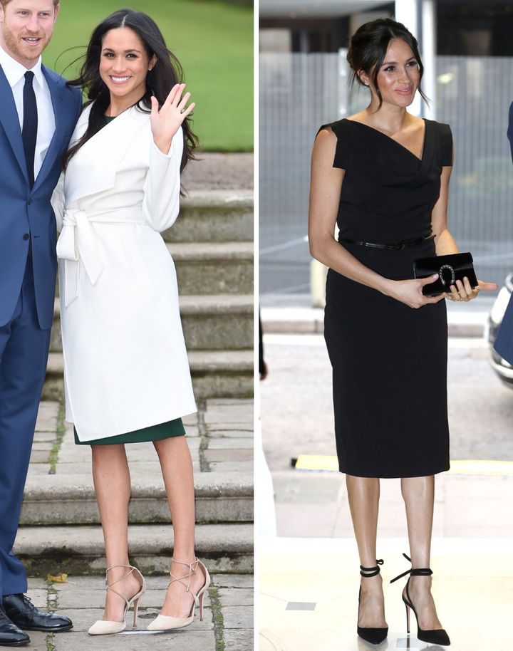 """Left: The duchess wears Aquazzura Matilde heels for her engagement announcement in November 2017. Right: The former actress wears the brand's <a href=""""https://www.instagram.com/p/BhxBBAol2xA/?taken-by=aquazzura"""" target=""""_blank"""" rel=""""noopener noreferrer"""">Milano pumps</a> for the Women's Empowerment reception at the&nbsp;Royal Aeronautical Society on April 19, 2018."""