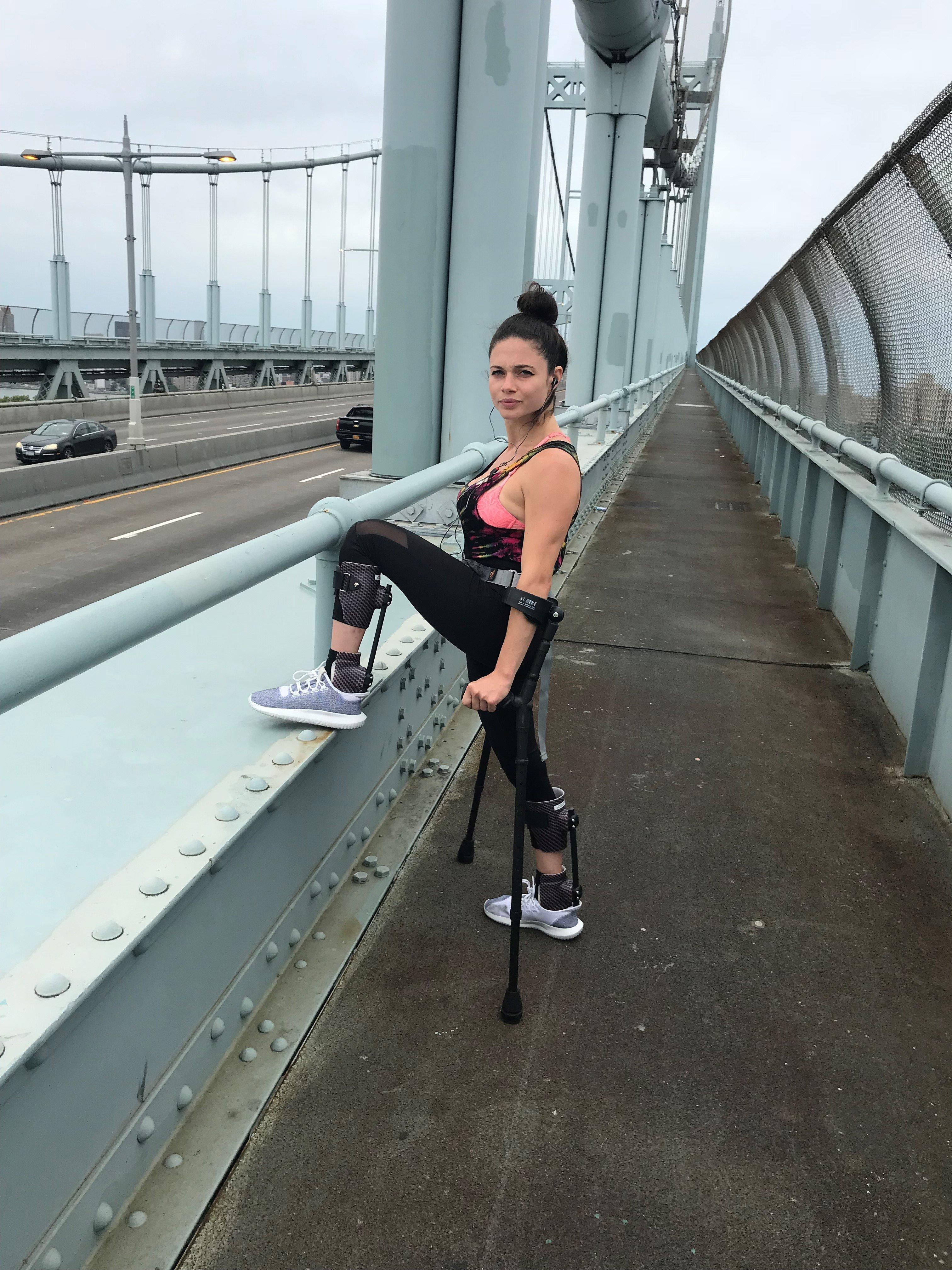 Hannah Gavios, a woman living with paralysis, will crutch the NYC Marathon on Nov. 4.