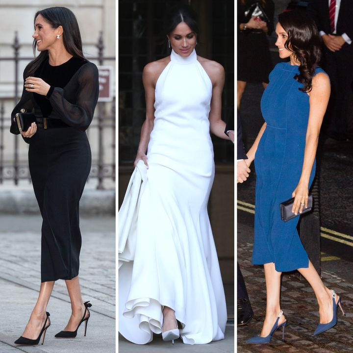 Left to right: The duchess wears Deneuve pumps at the Royal Academy of Arts on Sept. 25; bespoke Aquazzura pumps for her wedding reception on May 19; and Portrait of Lady slingbacks for the 100 Days of Peace concert on Sept. 6.