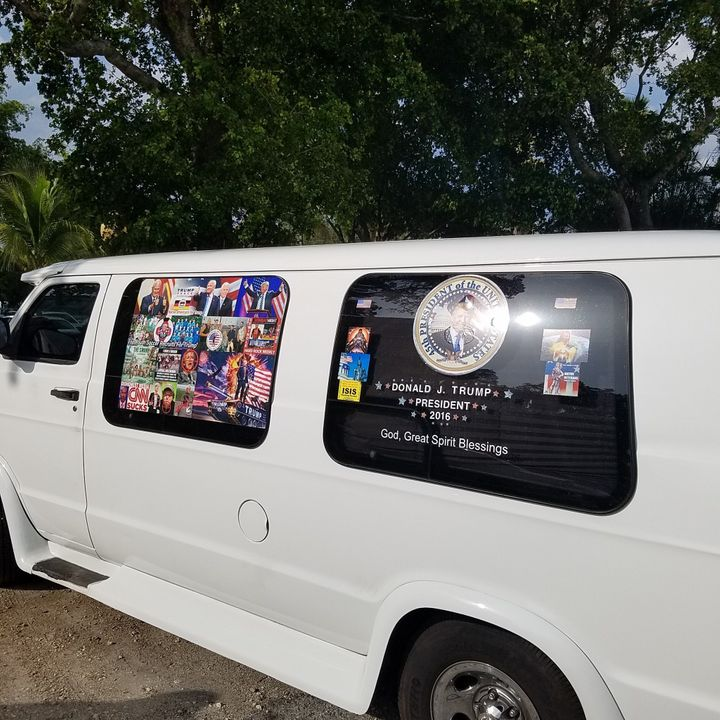 The van used by mail-bomb suspect Cesar Sayoc features photos of President Donald Trump and Vice President Mike Pence, a