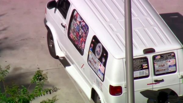 This frame grab from video provided by WPLG-TV shows the van parked in Plantation, Fla., on Friday, Oct. 26, 2018.