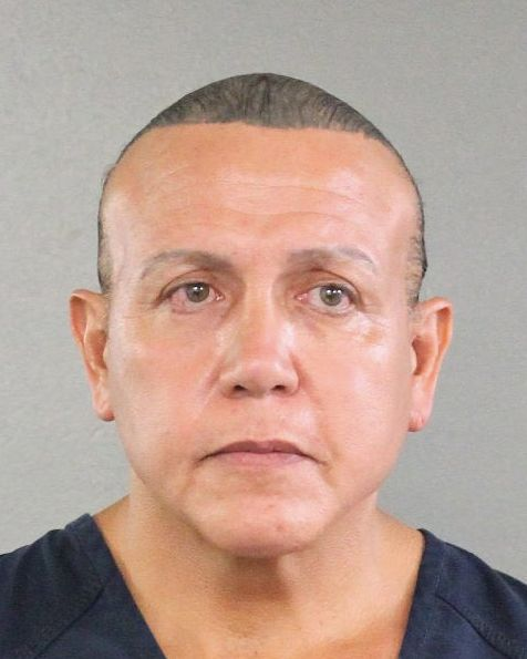 A mugshot of Cesar Sayoc, who is accused of sending suspicious packages and pipe bombs to various prominent Democrats.