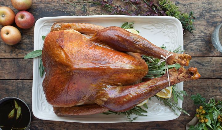A heritage turkey from Heritage Foods. Notice its shape, different from a round Butterball-type supermarket turkey.