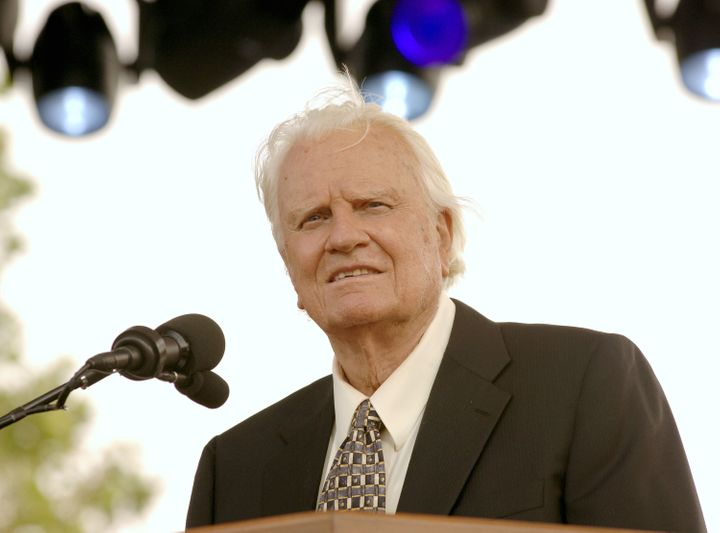 Billy Graham delivers a sermon at the Flushing Meadows Park in New York City, New York, on Sunday, June 26, 2005.