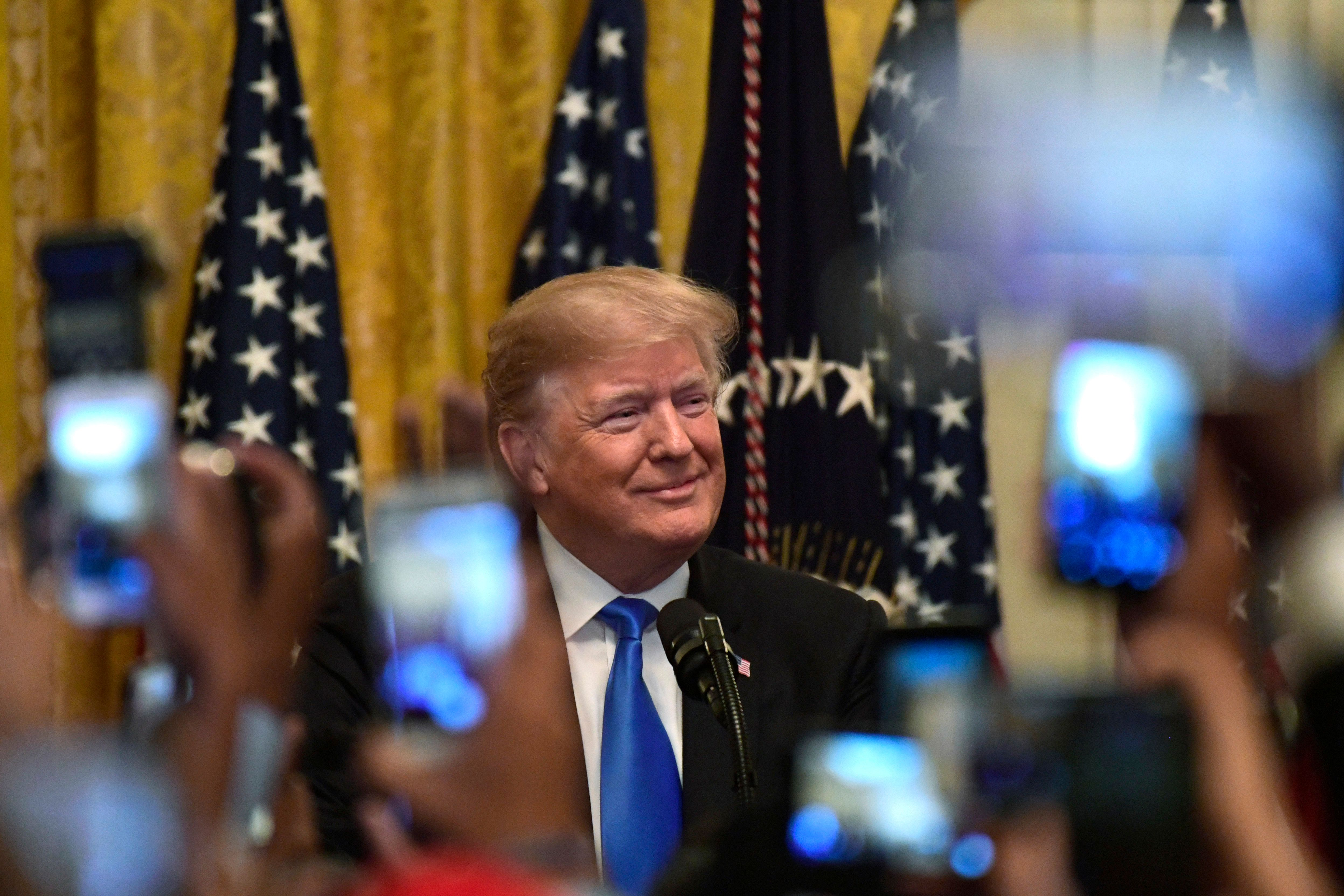 President Donald Trump speaks at the 2018 Young Black Leadership Summit in the East Room of the White House in Washington, Friday, Oct. 26, 2018. (AP Photo/Susan Walsh)