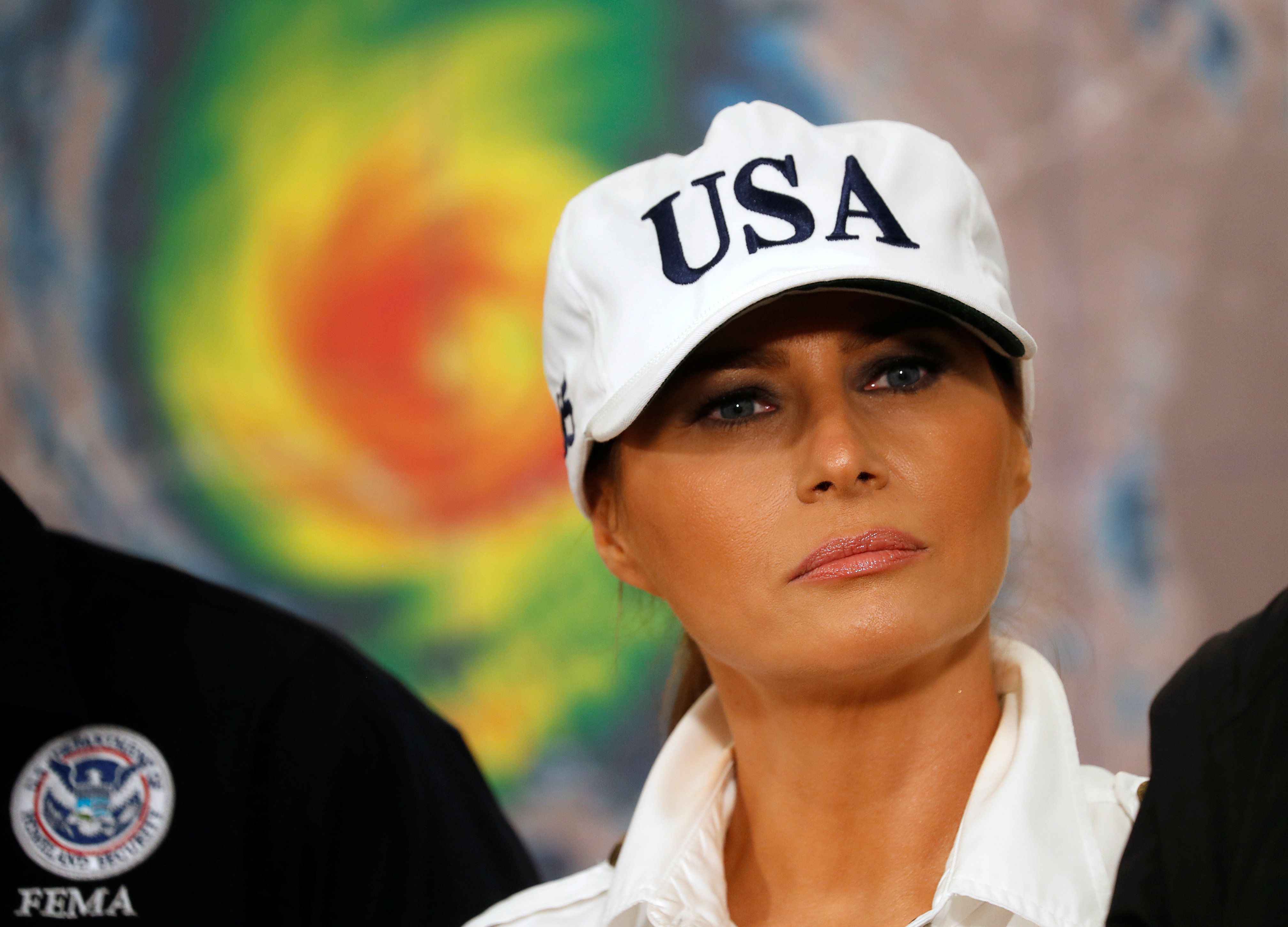U.S. first lady Melania Trump listens during a Red Cross hurricane relief briefing at the Macon Farmers Market in Macon, Georgia, U.S., October 15, 2018. REUTERS/Kevin Lamarque