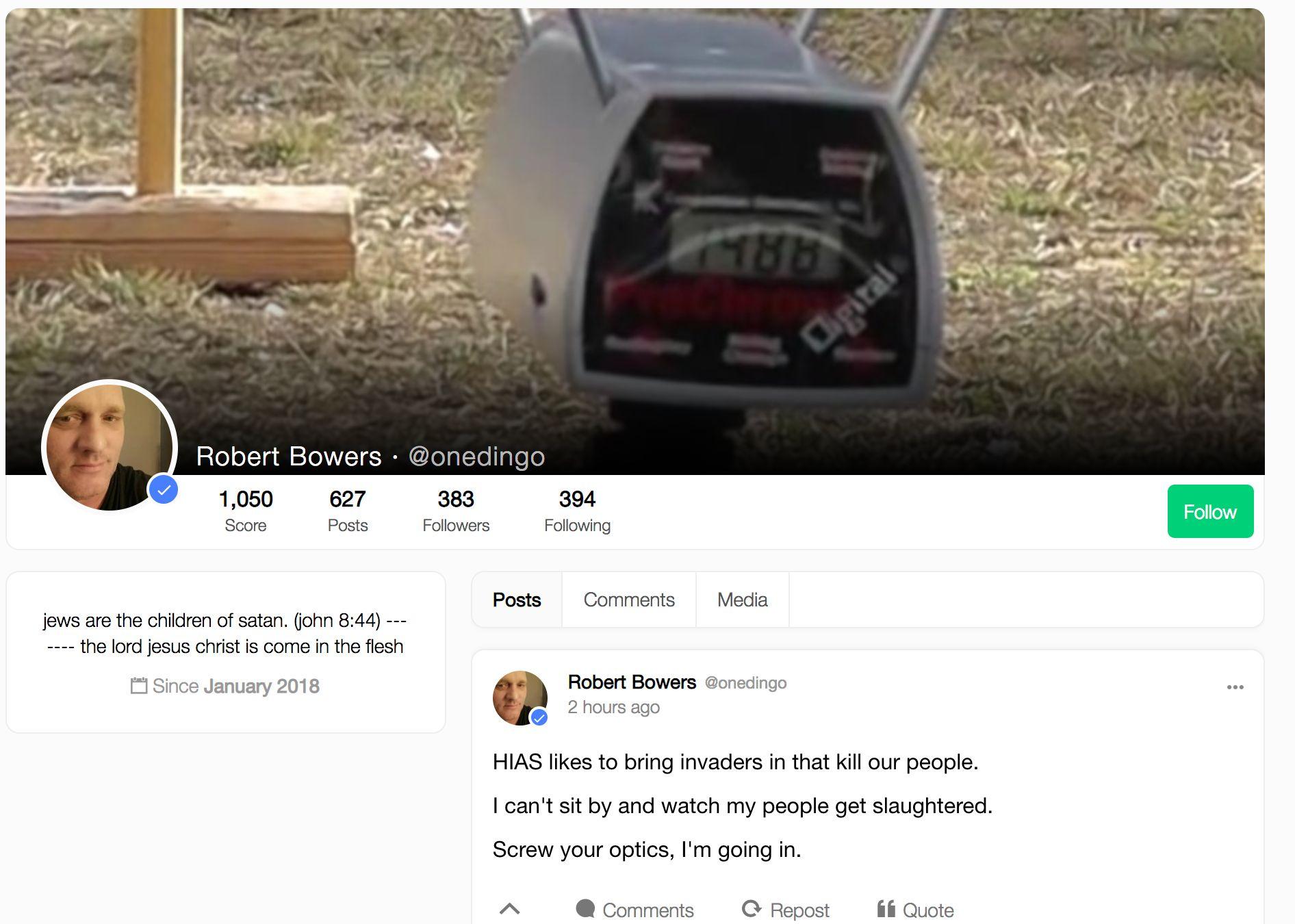 A screenshot shows alleged shooter Robert Bowers' profile on Gab, a social media platform popular among...