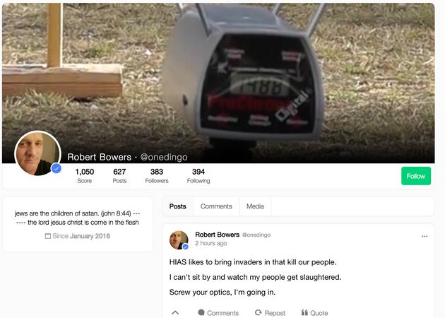 A screenshot shows alleged shooter Robert Bowers' profile on Gab, a social media platform popular among...