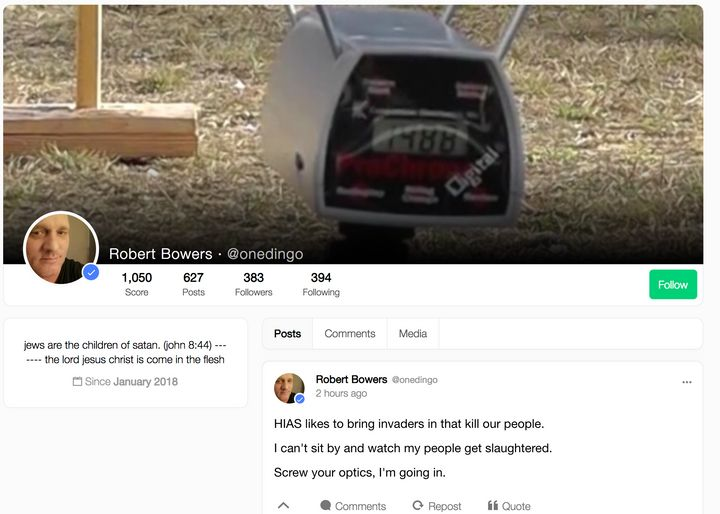 A screenshot shows alleged shooter Robert Bowers' page on Gab, a social media platform popular among neo-Nazis, soon after th