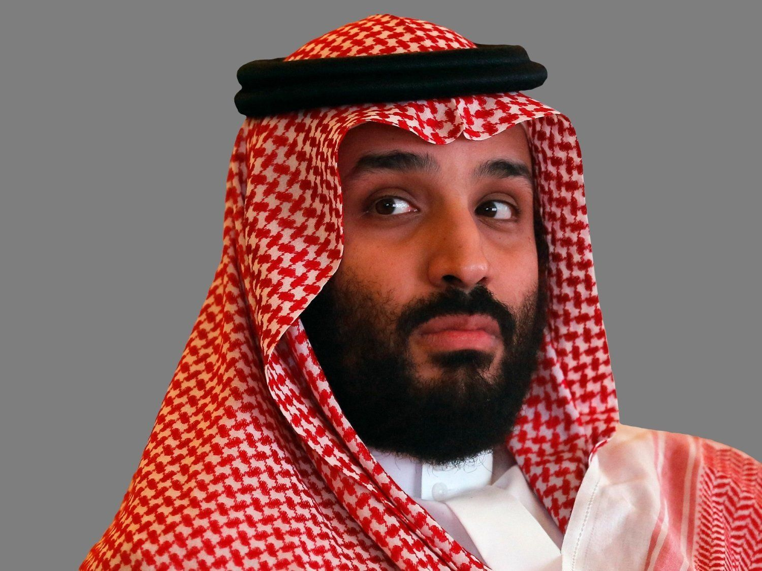 Mohammed bin Salman, Saudi Arabia Crown Prince, at Future Investment Initiative conference, Riyadh, Saudi Arabia, graphic element on gray