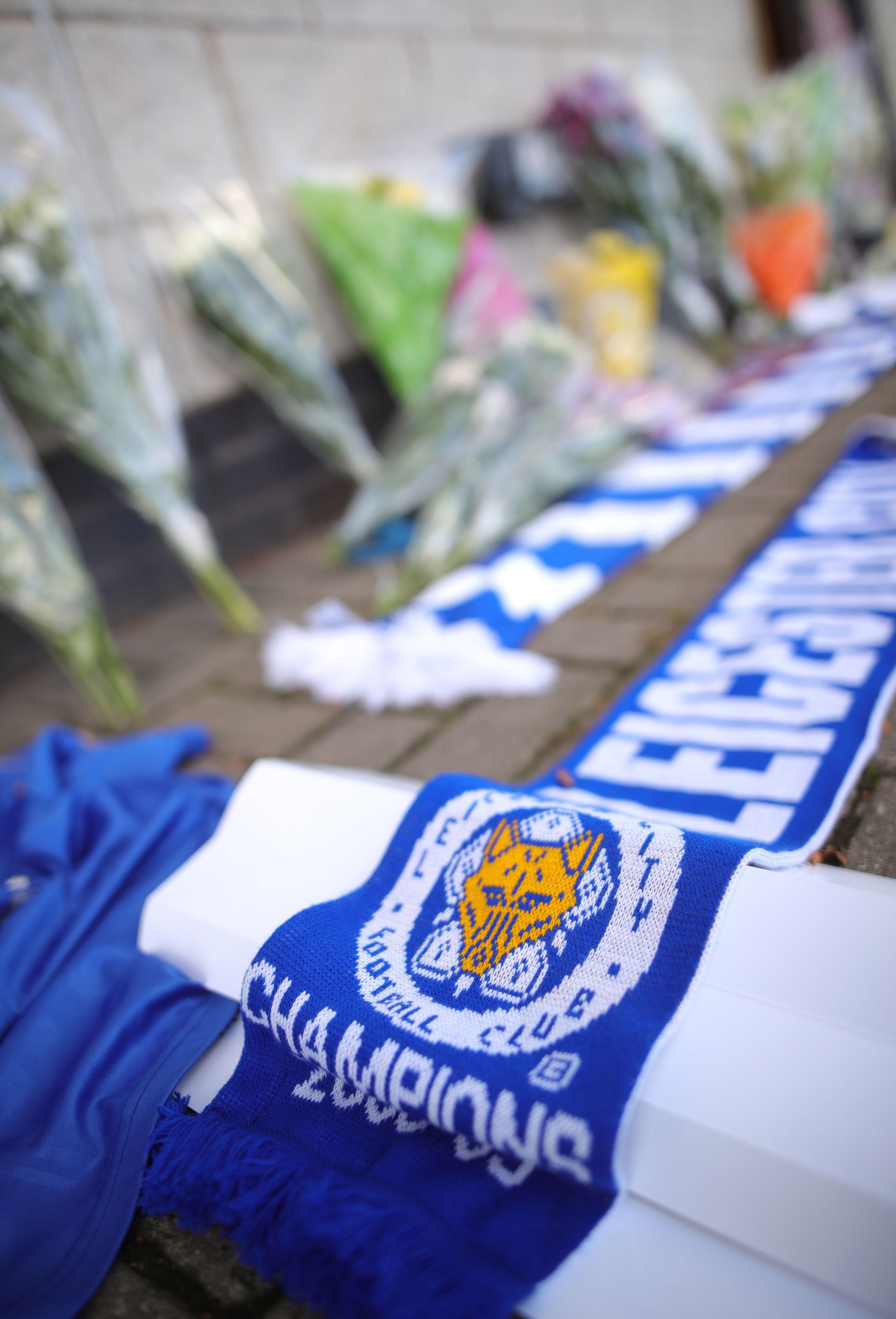 Tributes Laid At Helicopter Crash Site Near Leicester City Football
