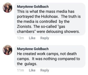 MaryAnne Goldbach made a series of anti-Semitic comments on Facebook posts to the incident ,