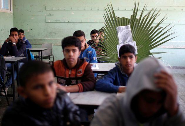 Une photo de Khaled Saed, un garçon palestinien de 14 ans, tué avec deux autres jeunes...