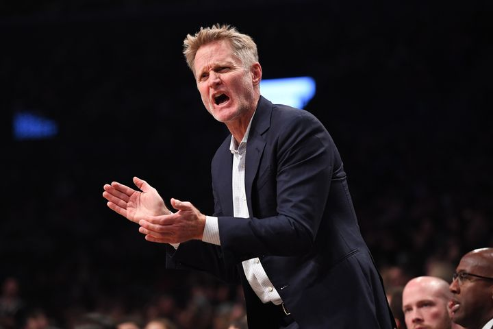 Golden State Warriors coach Steve Kerr, pictured during the Warriors-Nets game, did some of his best talking away from the si