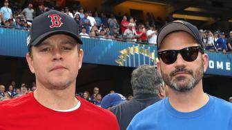 LOS ANGELES, CA - OCTOBER 28:  Matt Damon and Jimmy Kimmel attend The Los Angeles Dodgers Game - World Series - Boston Red Sox v Los Angeles Dodgers - Game Five at Dodger Stadium on October 28, 2018 in Los Angeles, California.  (Photo by Jerritt Clark/Getty Images)