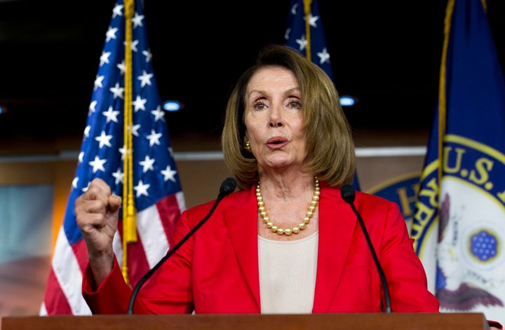 House Minority Leader Nancy Pelosi, D-Calif., speaks during her weekly news conference on Capitol Hill, Thursday, Sept. 6, 20