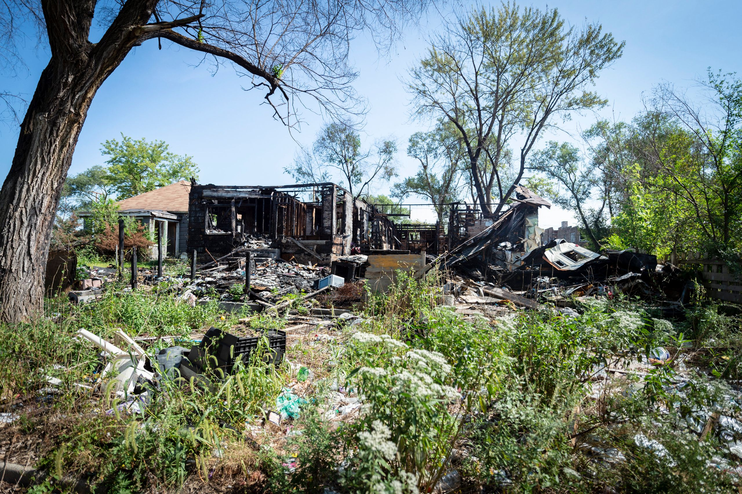A burned-up property is on the city's list to be demolished.