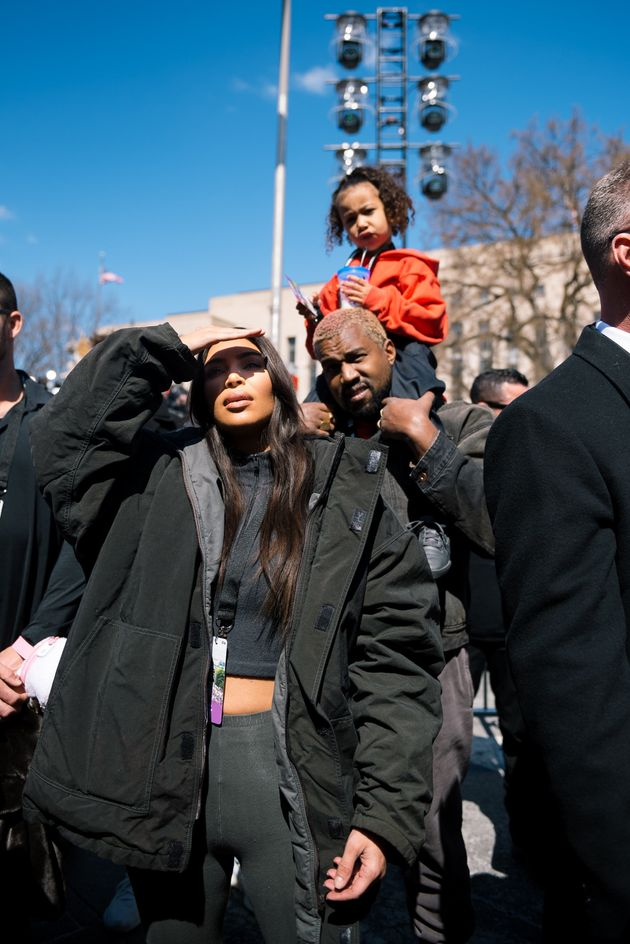 Kim Kardashian, Kanye West and daughter North attend the March For Our