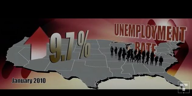 A graphic of the U.S. unemployment rate in January 2010 highlighted by President Donald Trump's campaign in 2018.