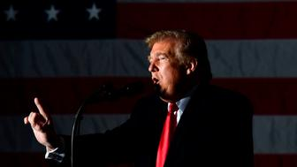 US President Donald Trump speaks during an election rally in Murphysboro, Illinois on October 27, 2018. (Photo by Nicholas Kamm / AFP)        (Photo credit should read NICHOLAS KAMM/AFP/Getty Images)