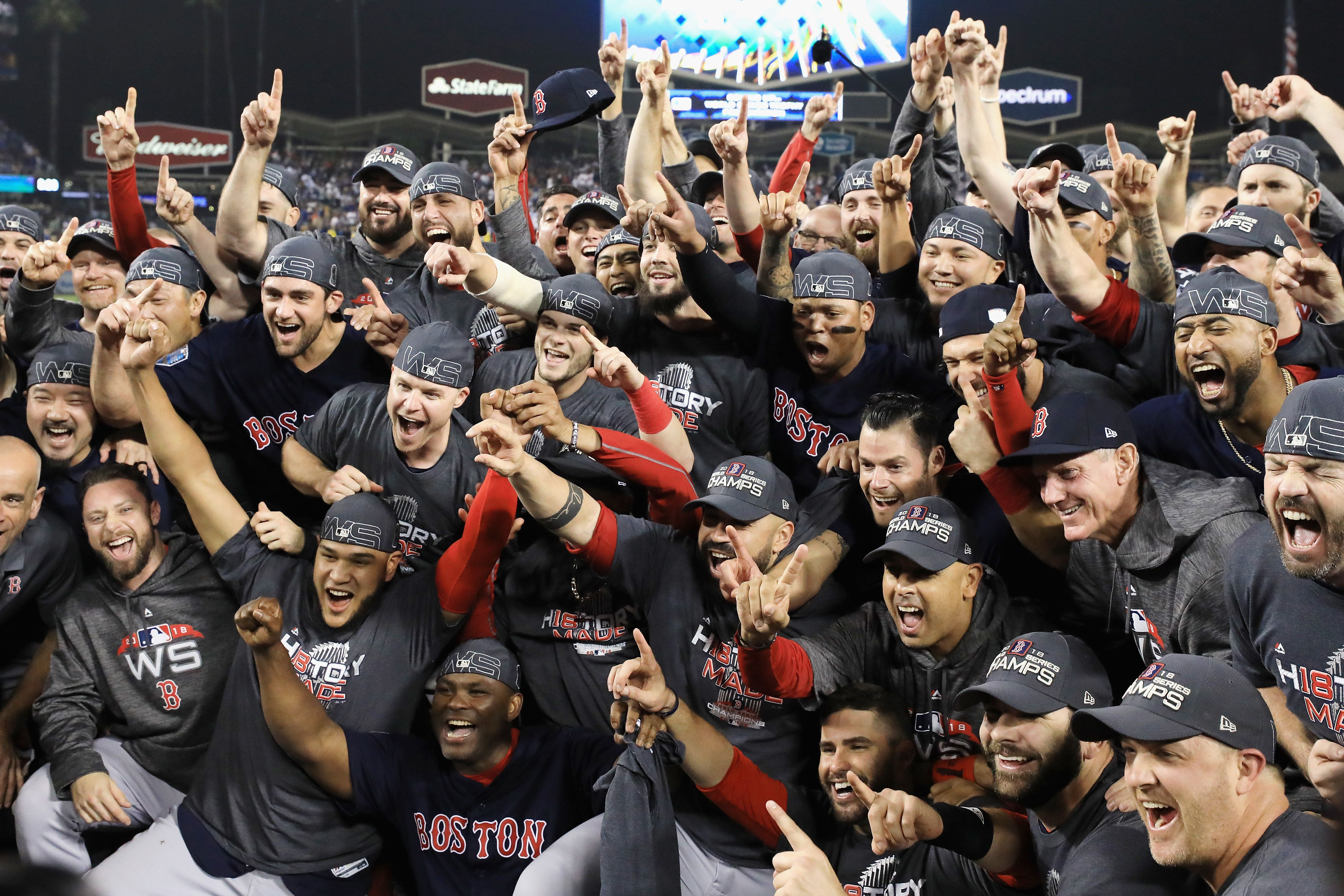 LOS ANGELES, CA - OCTOBER 28:  The Boston Red Sox celebrate their 5-1 win over the Los Angeles Dodgers in Game Five to win the 2018 World Series at Dodger Stadium on October 28, 2018 in Los Angeles, California.  (Photo by Sean M. Haffey/Getty Images)
