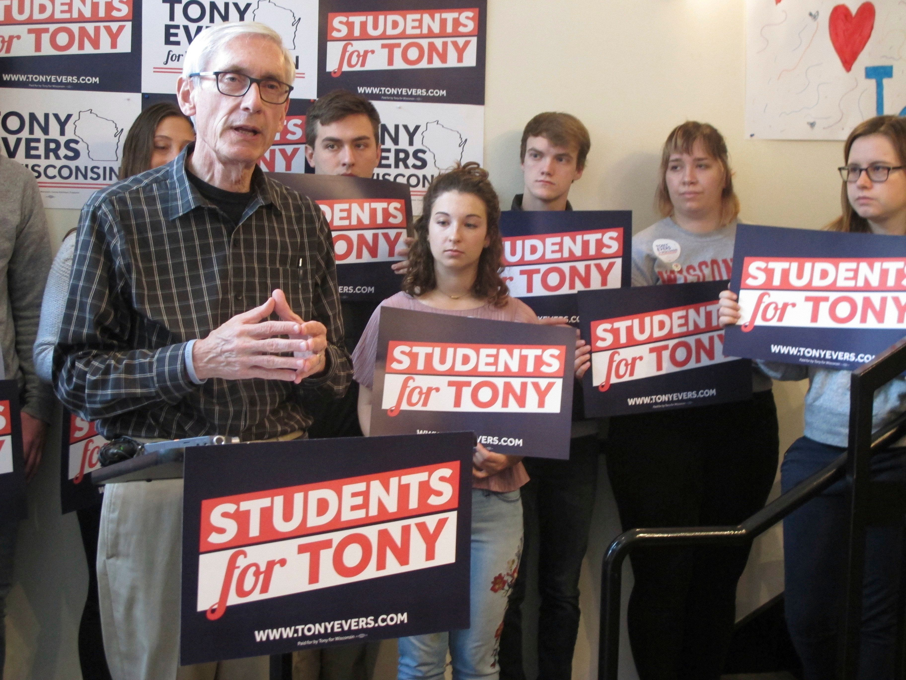 Wisconsin Democratic candidate for governor Tony Evers speaks at an early voting event on the University of Wisconsin-Madison campus Monday, Oct. 29, 2018, in Madison, Wis. Evers says he thinks the state's concealed carry law is working but he wants to be sure licensing requirements are adequate. (AP Photo/Scott Bauer)