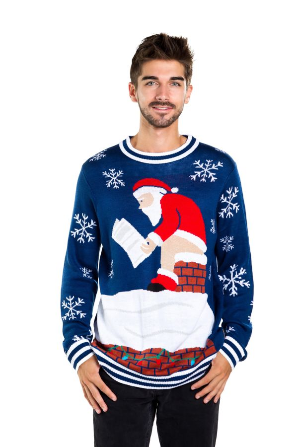 "This <a href=""https://www.tipsyelves.com/mens-santa-pooping-down-chimney-ugly-christmas-sweater"" target=""_blank"">Christmas sw"