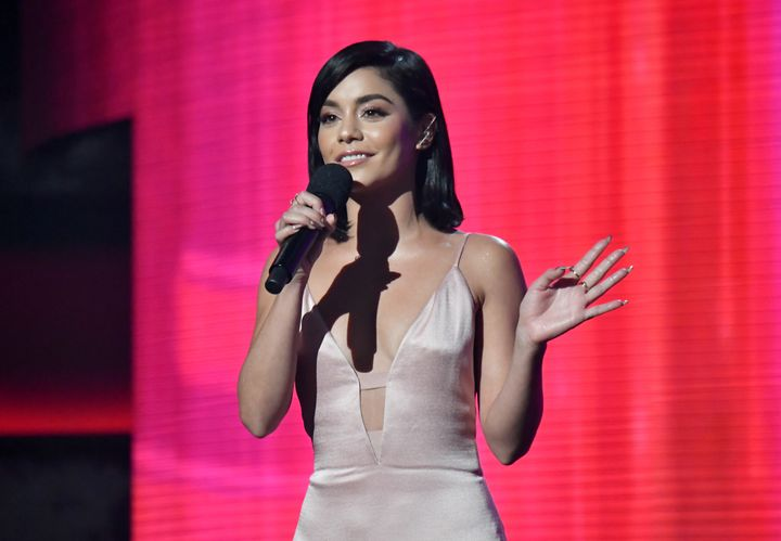 Vanessa Hudgens on stage at the American Music Awards.