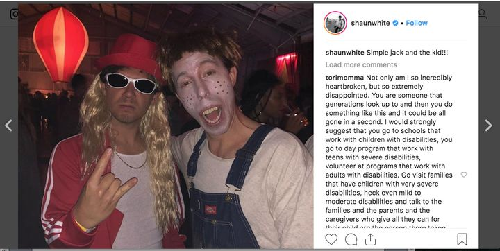 "One Instagram commenter said they were ""incredibly heartbroken"" by White's choice of Halloween costume."