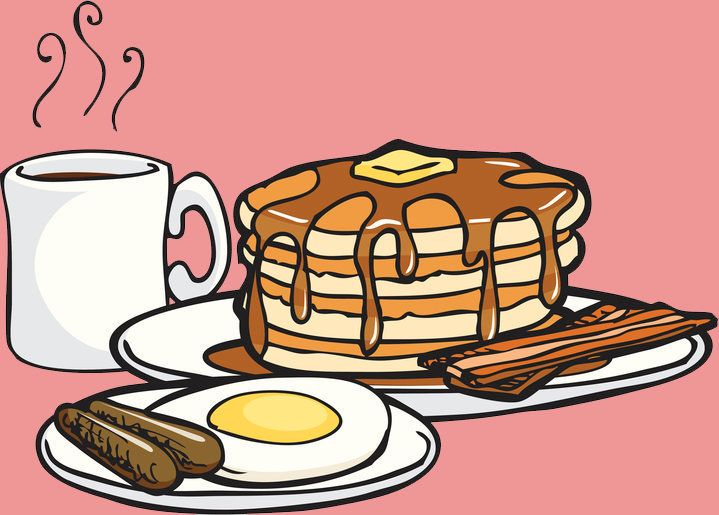 This clip art style illustration shows hot pancakes dripping with syrup and a slice of butter on top, coffee or hot chocolate, eggs, sausage and bacon all cooked and ready to eat. Part of a series of good foods. Each item grouped separately.