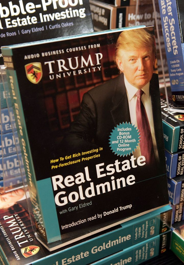 Copies of the Trump University's How to Build Wealth at a Barnes & Noble store in 2005 in New York City. A lawsuit has accused Donald Trump and the Trump Organization of defrauding investors.