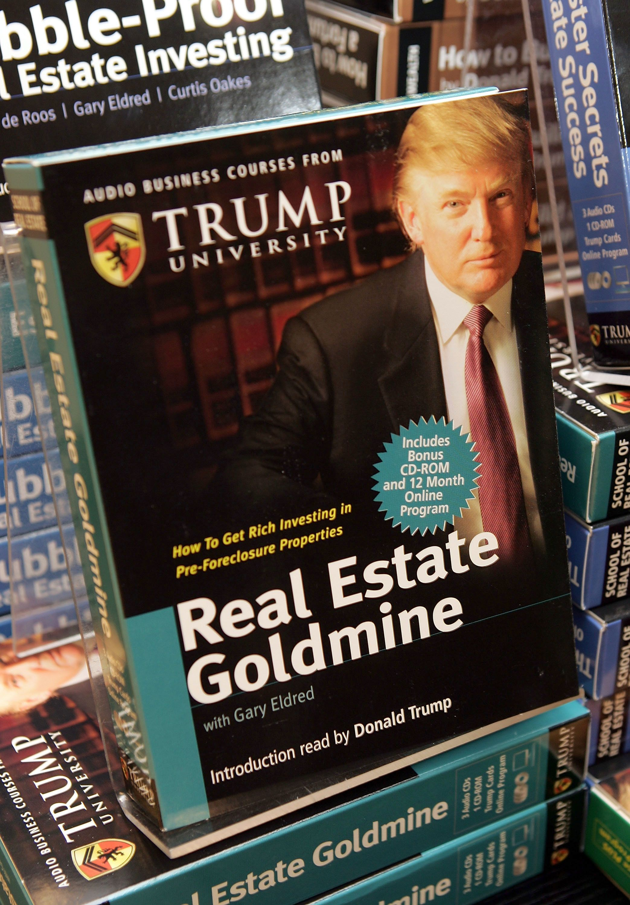 Copies of the Trump University's <i>How to Build Wealth</i> at a Barnes & Noble store in 2005 in New York City.