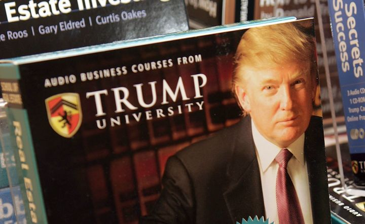 Copies of the Trump University's <i>How to Build Wealth</i>&nbsp;at a Barnes &amp; Noble store in&nbsp;2005 in New York City.